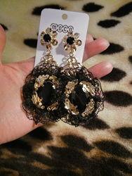 Серьги Dolce & Gabbana Дольче Габбана черные винтажные