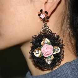 Серьги Дольче Габанна Dolce&Gabanna с розовым цветком