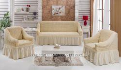 Натяжные чехлы на диван и два кресла с уборкой