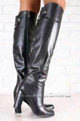 Демисезонные женские сапоги-ботфорты, замшевые