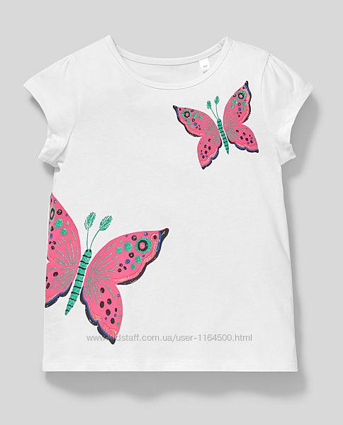 Очень красивая белая футболка на девочку C&A Германия Размер 110, 122