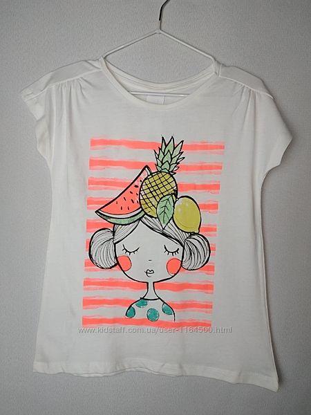 Белая футболка для девочки 6-7 лет C&A Германия Размер 122 оригинал