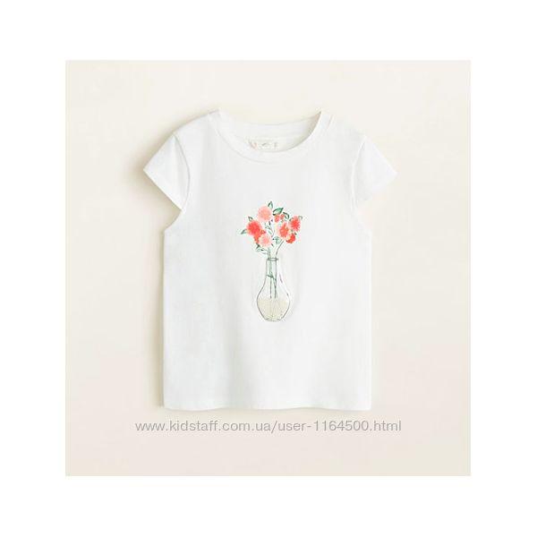 Детская летняя футболка для девочки Mango Kids Испания Размер 116, 122