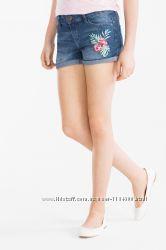 Джинсовые шорты на девочку с вышивкой и пайетками C&A Германия Размер 170