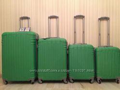 Большой зелёный чемодан, валіза поликарбонат Хит 2017