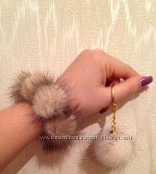 шикарные меховые  резинки для волос из норки