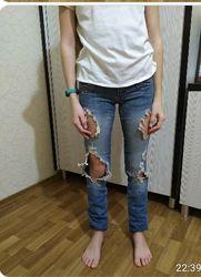 Рваные джинсы на 13-16 лет