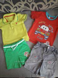 Два комплекта футболок и шортов и рубашка на мальчика