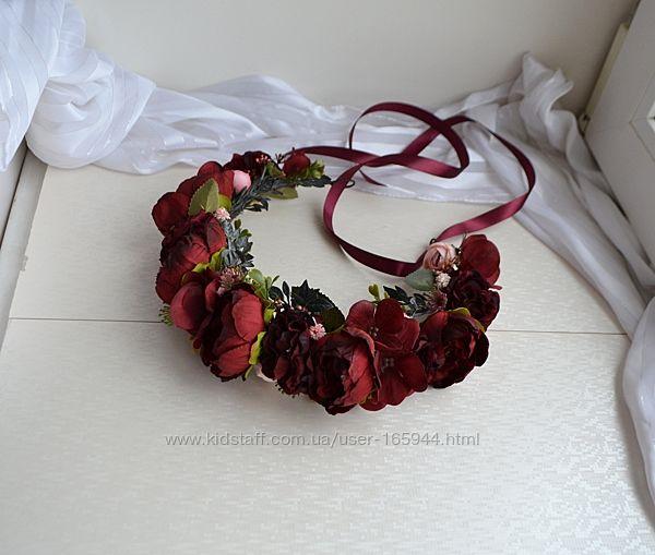 Веночки для волос в супер модном цвете бургунди