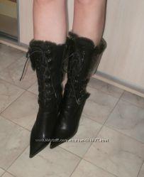 Супер сапожки зима it girl. шнуровка, кожа, вышивка, мех.