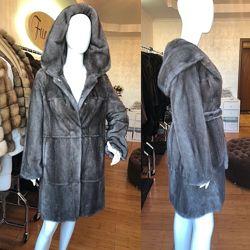 Норковая шуба графит 95 см с капюшоном халат цельная идеал