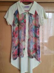 Рубашка трикотажная с шифоновыми вставками