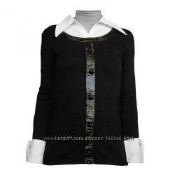 Стильна трикотажна блузка з довгим рукавом