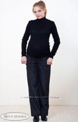 Теплые брюки для беременных из плащевки на флисе