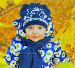 Шапочка с шарфиком для девочек 3-10 лет