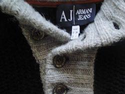 Теплая мужская кофта Armani грубой вязки с капюшоном. Оригинал.