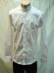 Рубашка мужская , приталенная  Antoni Rossi белая, воротник -стойка МXL,3XL