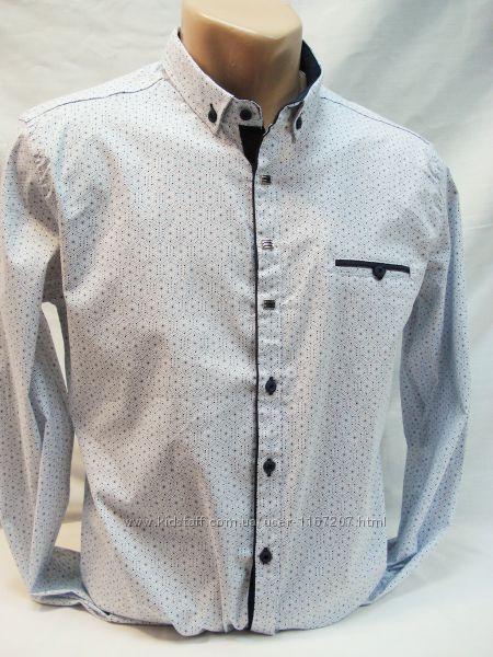 Рубашка мужская притал. GPORT белая с мелким рисунком  L,