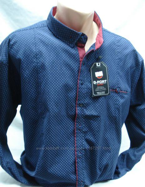 Рубашка мужская приталенная GPORT синяя  с рисунком 5XL54-56разм,