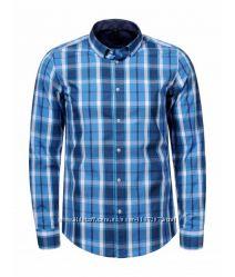 Рубашка мужская  Glo StORi голубая и синяя клетка3XL, 4XL, 5XL, 6XL