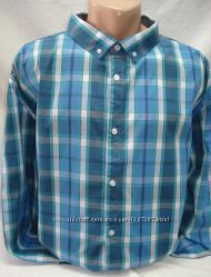 Рубашка мужская  Glo StORi голубая и зелёная клетка3XL, 4XL, 5XL, 6XL