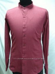 Рубашка мужская PLENTI лен, бордовая стойка 3, 4, 5XL