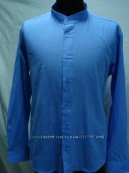 Рубашка мужская PLENTI лен, голубая стойка 3XL
