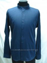Рубашка мужская PLENTI лен, синяя стойка 5XL
