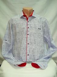 Рубашка мужская Paul Jack белая в чёрточки M, L, XL, 3XL