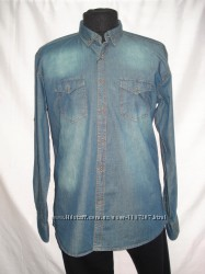 Рубашка джинсовая c потёртостями , двумя карманами  XL, 2XL, 3XL, 4XL, 5XL