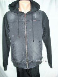 Кофта-Куртка джинсовая с трикотажным капюшоном. S, M, L, XL, 2XL