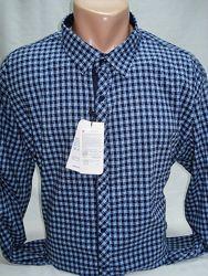 Рубашка мужская Recobar притал. тёмно-синяя    с мелкой клеткой