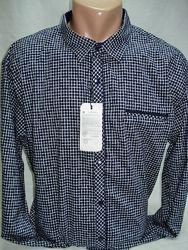 Рубашка мужская Recobar притал. тёмно-синяя с мелкой клеткой 3X
