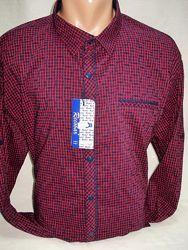 Рубашка мужская Recobar притал.  бордовая  с мелкой клеткой 3XL. 4XL. 5XL.