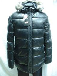 Куртка мужская зимняя полупритал. удлинённая  чёрная 54размер