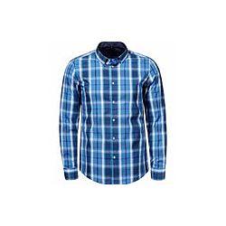 Рубашка мужская Glo StORi голубая и синяя клетка 3XL,4XL,5XL