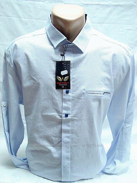 Рубашка мужская  SA MEN белая с синим рисунком 3XL,4XL,