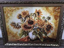 Картина с янтаря Подсолнухи, очень красивая