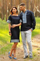 Ефектний комплект - чоловіча сорочка і жіноче плаття з синього льону