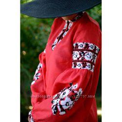 Плаття-туніка червоне з білими трояндами