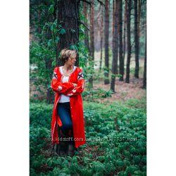 Плаття вишите червоне з білими півнями