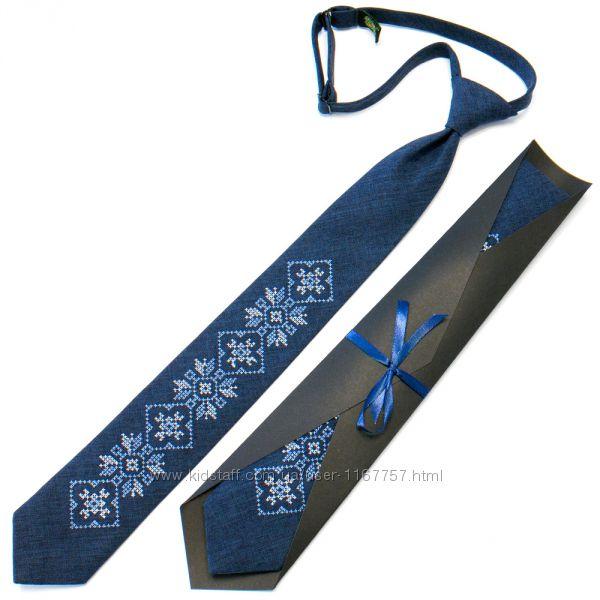 Підліткова краватка з вишивкою синя