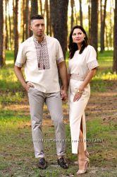 Вишитий комплект для пари - чоловіча сорочка і жіноча сукня з коротким рука