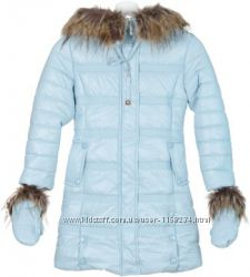 Пальто зимнее с варежками для девочки, голубое - X-Woyz