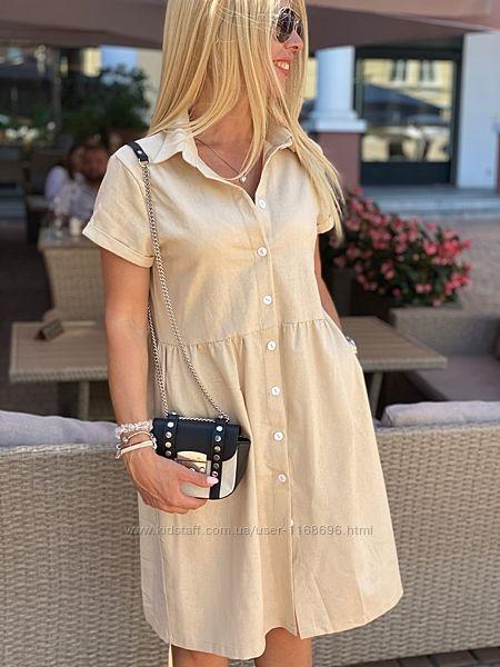 Летнее свободное платье рубашка Размеры с 42- 52