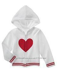 Кофта Джимбори Gymboree белая с красным сердечком с капюшоном