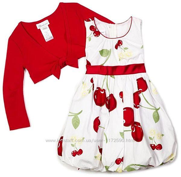 Новое очень красивое платье и кофточка болеро с вишенками на 3 года Bonnie