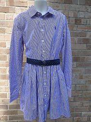 Новое платье Ralph Lauren полоска белая фиолетовая синий пояс девочка 8 лет