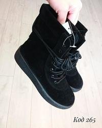 Ботинки черные демисезонные, ботинки замшевые на платформе деми, осенные боти