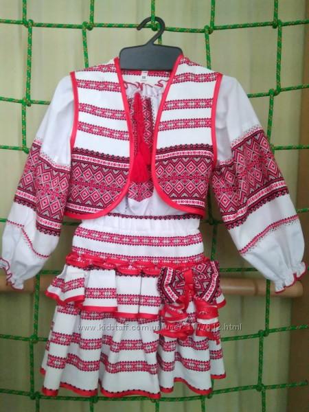 Вишитий костюм для дівчинки 2-3 роки - блузка, спідниця, жилетка